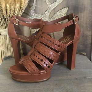 Tod's Brown Leather Strappy Platform Heel Sandals
